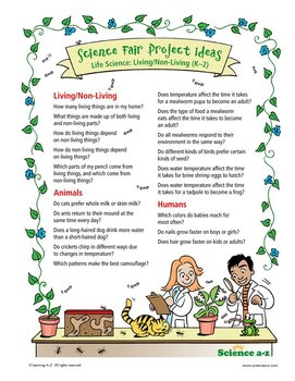 Science a z livingnon living grades k 2 life science unit science fair resources ccuart