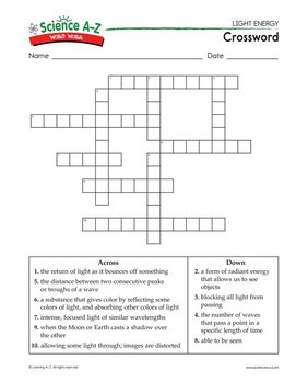 Science A Z Word Work Puzzles And Activities