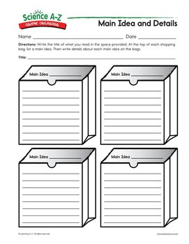 photograph about Main Idea Graphic Organizer Printable identified as Picture Organizers for Medical Substance - Science A-Z