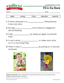 Science a z livingnon living grades k 2 life science unit word work ccuart